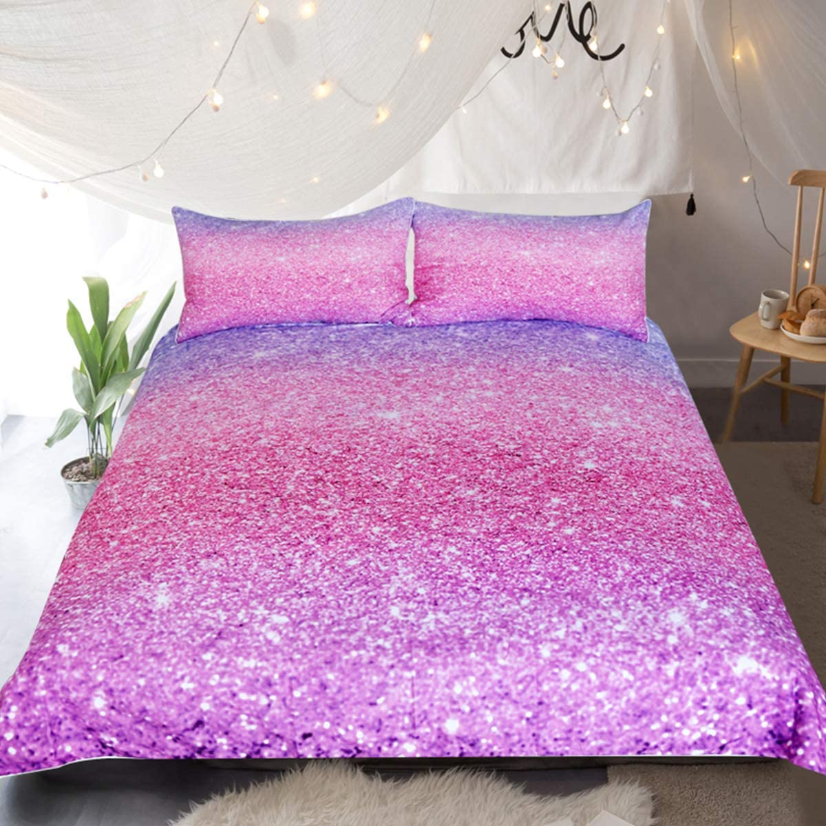 Sleepwish Glittery Bedding Set Colorful Abstract Glitter Purple and Pink Duvet Cover 3 Pieces Girls Sparkly Pastel Ombre Bed Set (Twin)