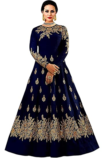 3f1658f2f3 Queen of India affeta Silk Embroidered Semi-Stitched Anarkali Gown | womens  party wear | Today preminum new gowns | new design collection 2018 | new  design ...
