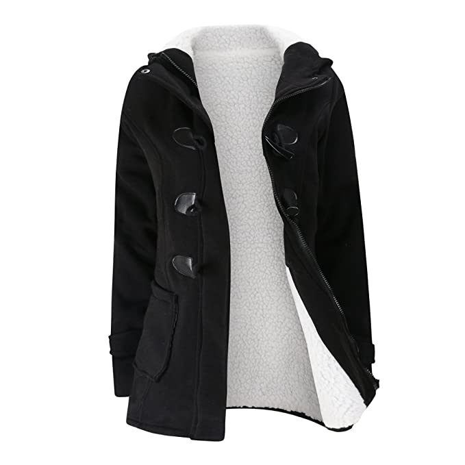 b3a1cbe25c7f Amazon.com  Elonglin Women Duffle Coat Coton Fleece Trench Coat ...