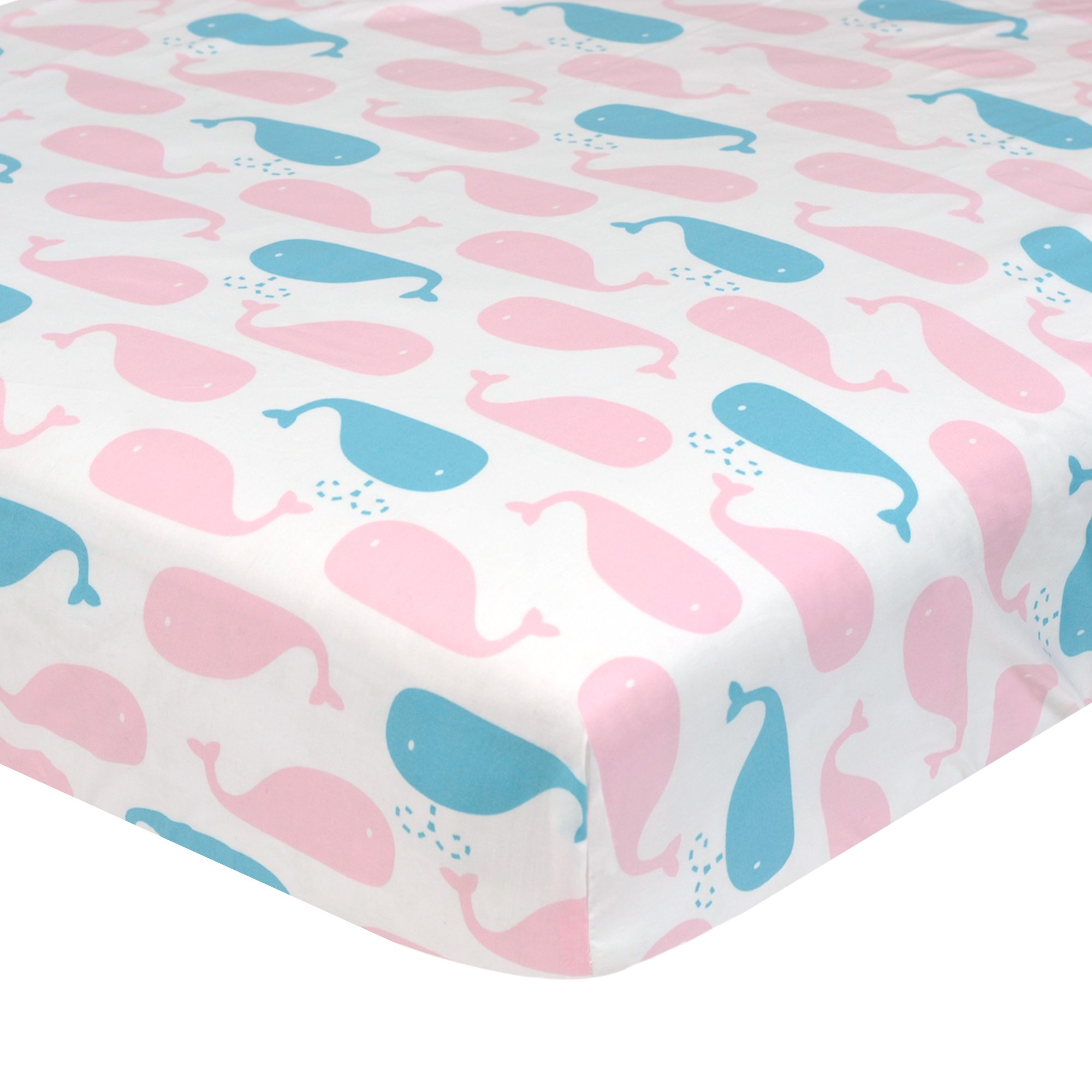Just Born Sail Into Your Dreams Crib Sheet, Pink/Aqua Whales