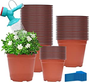 "Leeky 60 Pcs 6"" Plastic Seedlings Plants Nursery Pots with 60 Pcs Waterproof Plastic T-Type Plant Tags and 1Pcs Dual Head Bottle Watering Spout Suitable for Indoor, Outdoor, Garden,Yard and Park"