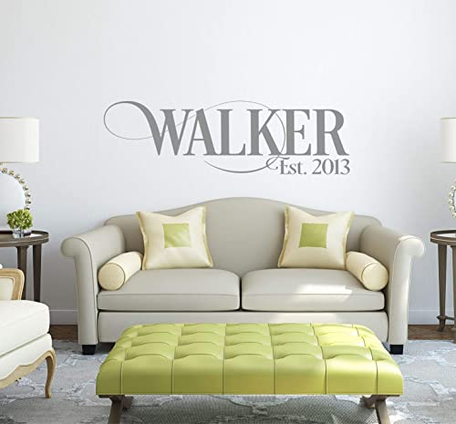 Family Name Decals for Walls   Personalized Family Name Sign  Name Wall Decal  Established Date  Last Name Decal