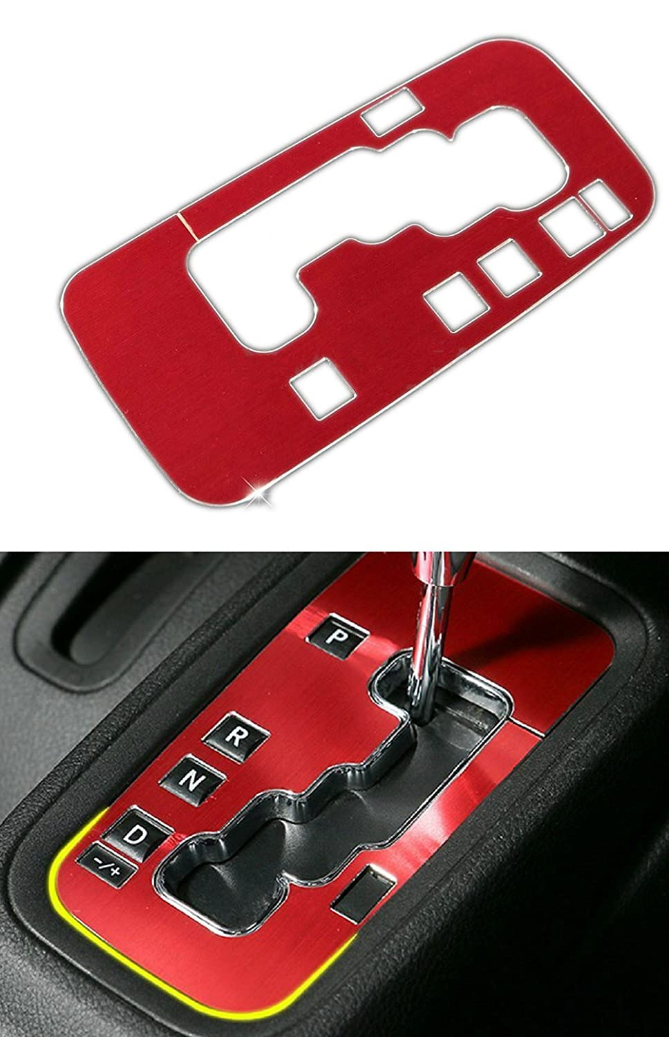 Danti Aluminum Interior Accessories Trim Gear Frame Cover for Jeep Wrangler 2012-2016 1pcs (Red) wenwen top