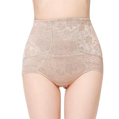 af2c01fc90f Shymay Women s Tummy Control Panties Lace Trim Sheer High Waist Brief  Shapewear