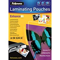 Fellowes 53062 - Pack de 100 fundas para plastificar, brillo formato A3, 80 micras