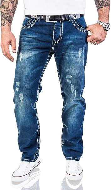 New Mens Designer Look Washed Effects Vintage Denim Blue Regular Fit Jeans