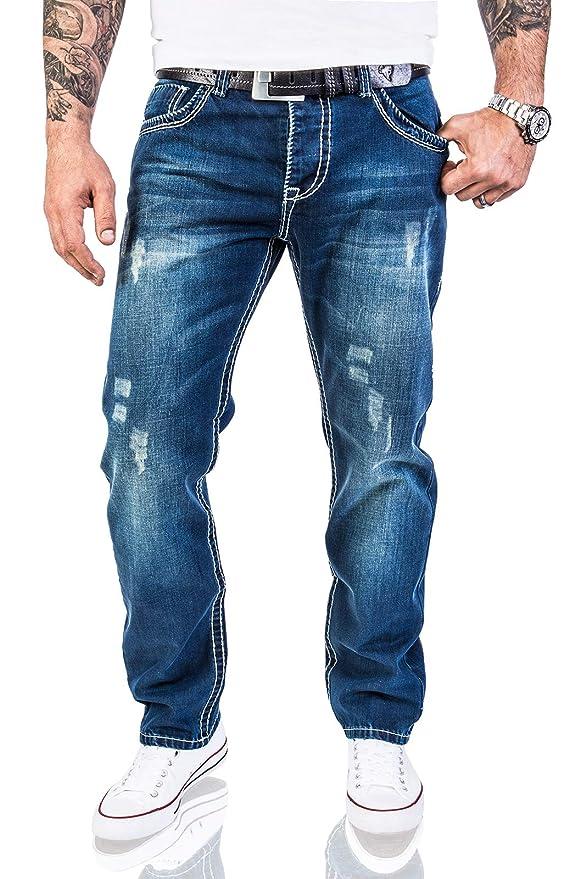 616bee37a0e2 Rock Creek Herren Designer Jeans Hose Dicke Nähte Vintage Blau RC-2056   Amazon.de  Bekleidung