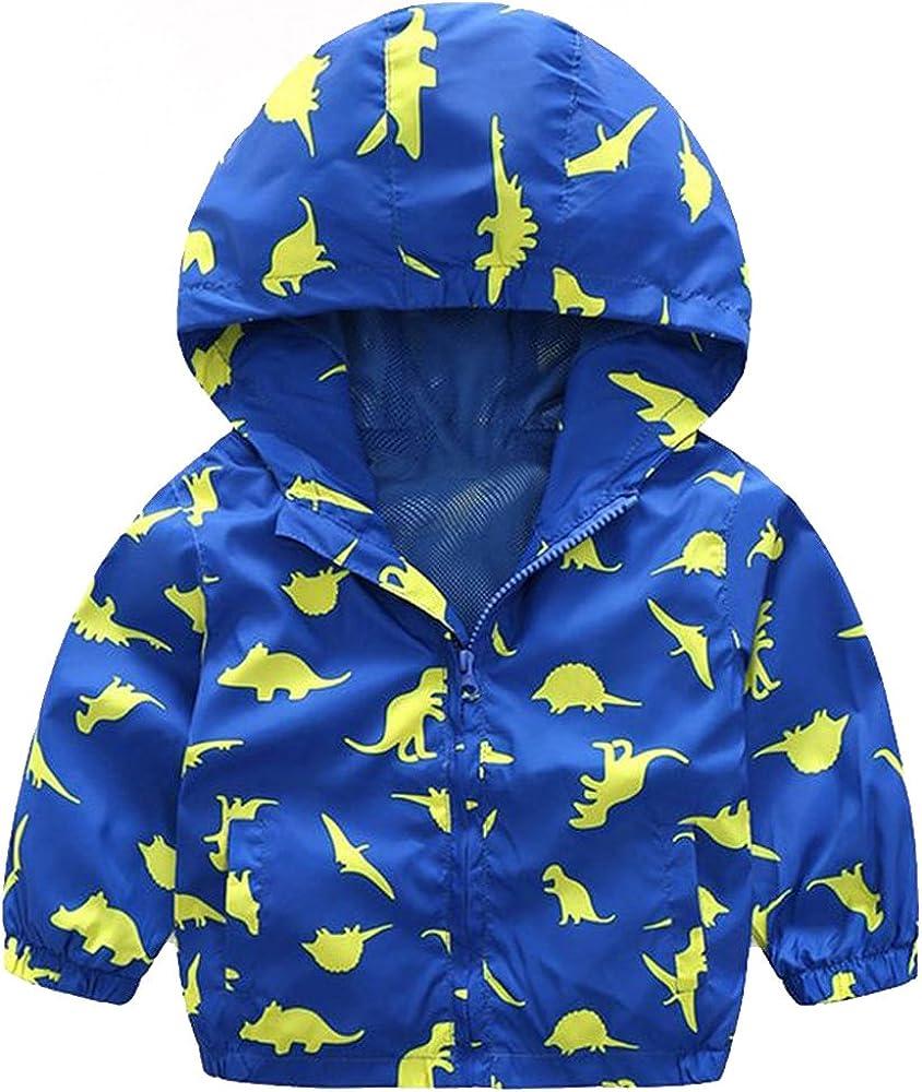 Blue//Yellow EZB Childrens Unisex Dinosaur Windbreaker Jacket