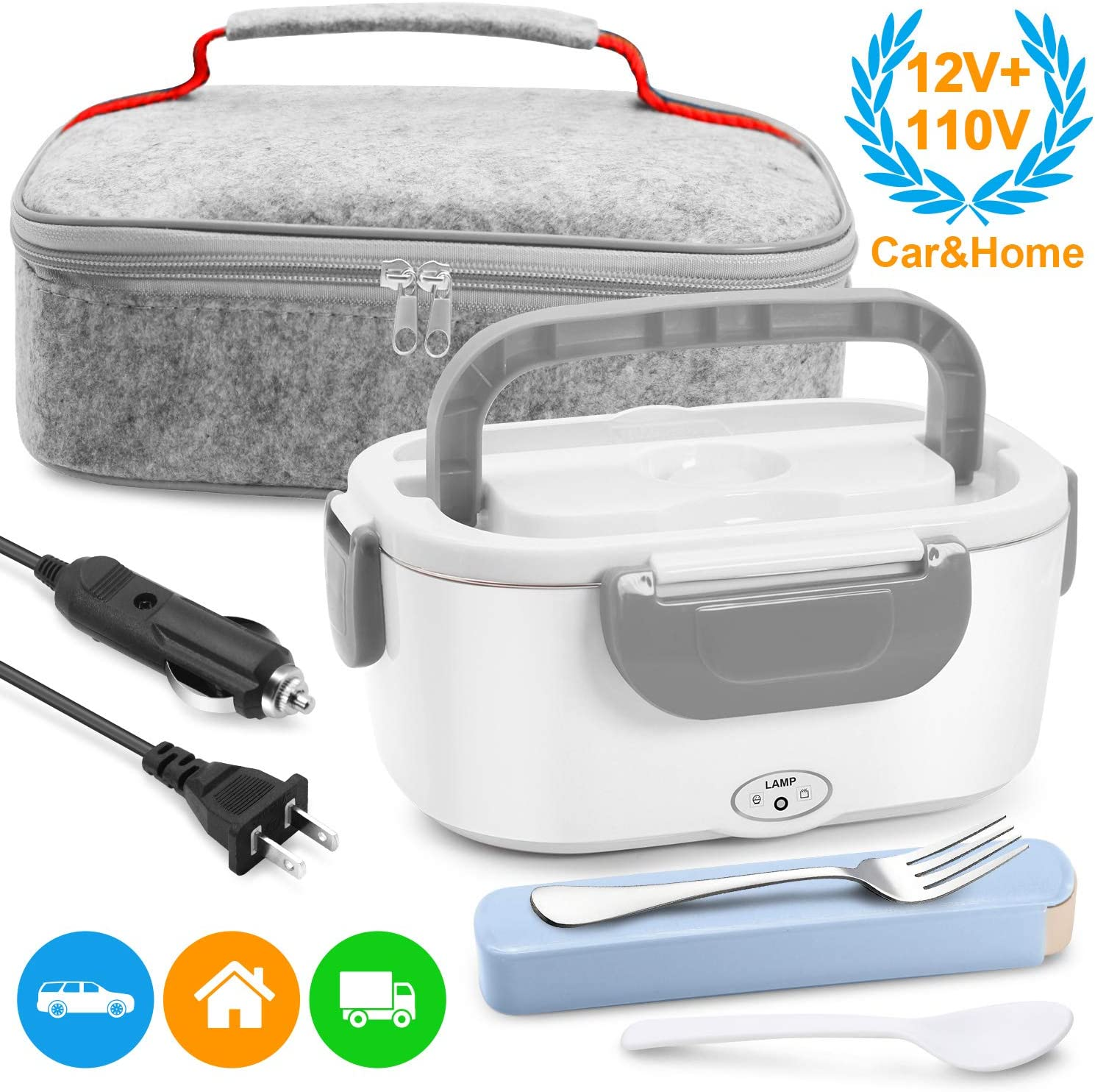 Electric Lunch Box Food Heater - Farochy Heating Lunch Box Heater Portable Microwave Electric Lunch Box 2 in 1 for Car and Home 110V & 12V, Stainless Steel Food Warmer and Heater (Grey)