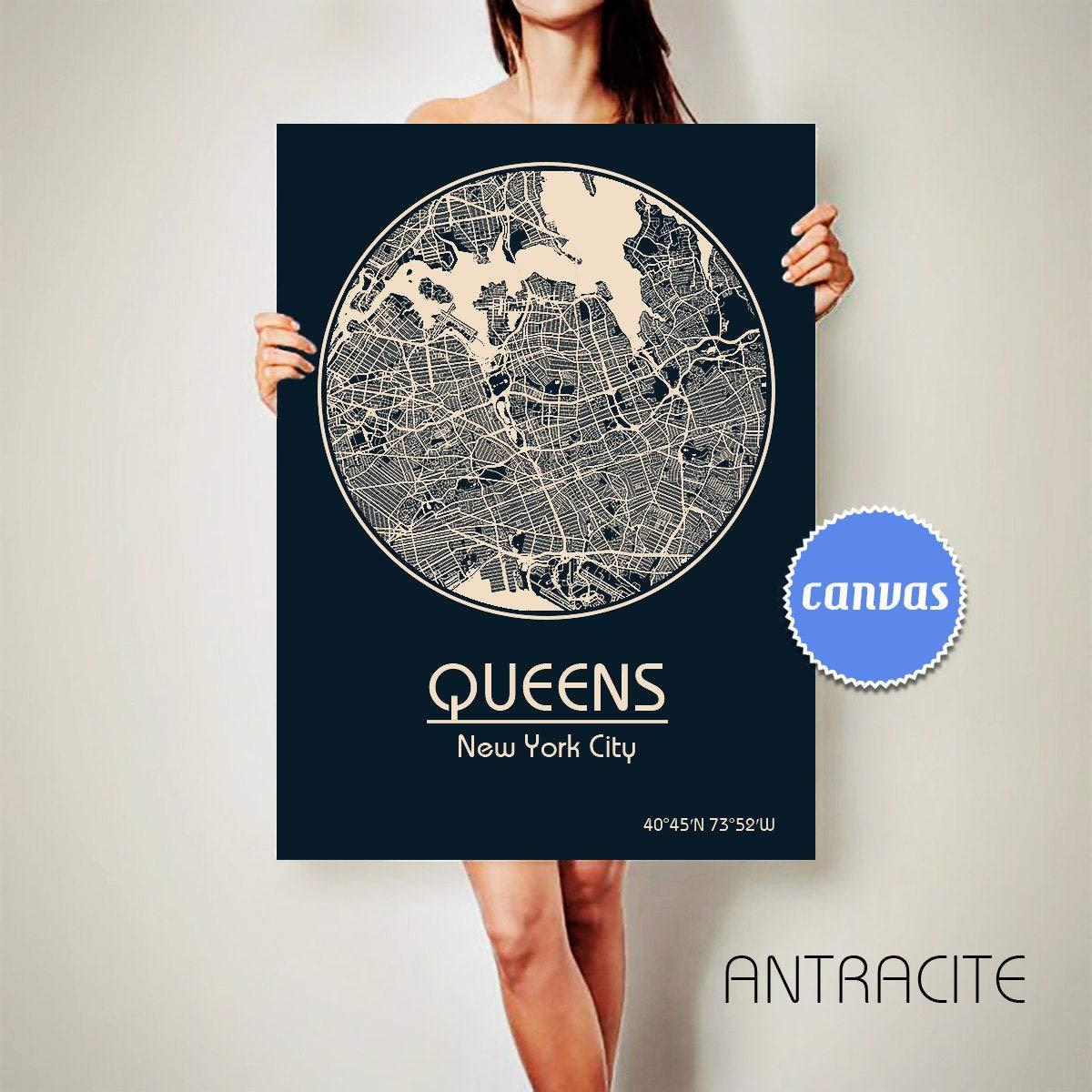 Queens New York キャンバス地図 クイーンズ ニューヨークポスター シティマップ クイーンズ アートプリント クイーンズ ニューヨーク州 30x40 cm CAZVAS-22586-1 30x40 cm フレームなし B07QHFM3QR