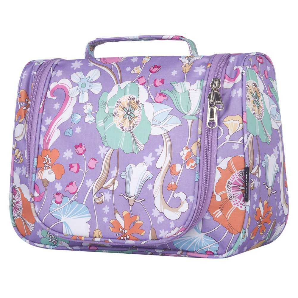 Cosmetic Bag Stylish, Yeiotsy Flowers Travel Toiletry Bag Exotic Hanging Makeup Bag Girls Cosmetic Organizer (Purple)
