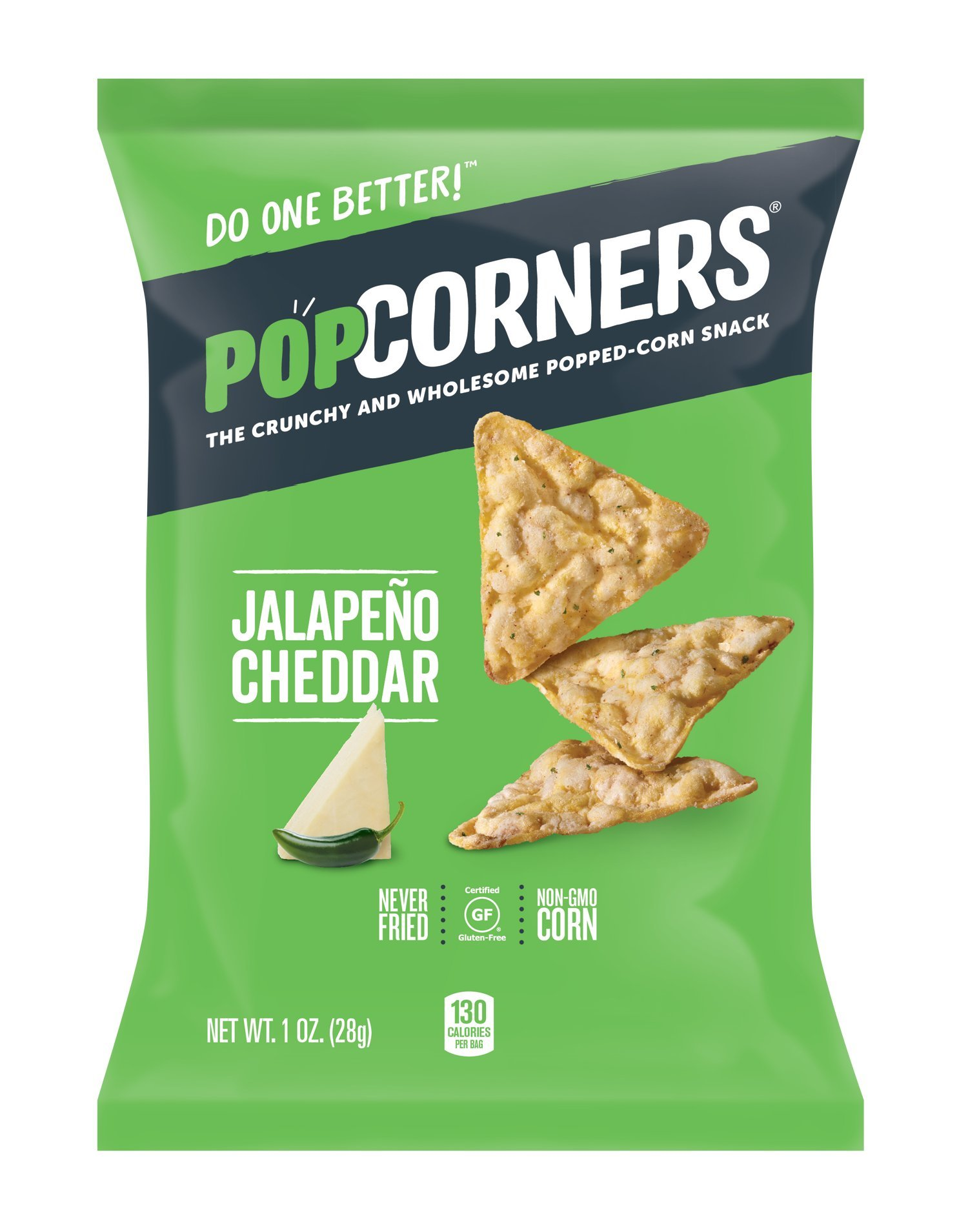 POPCORNERS Jalapeno Cheddar Popped Corn Snacks, Gluten Free, Single-Serve 1oz bags (Pack of 40)