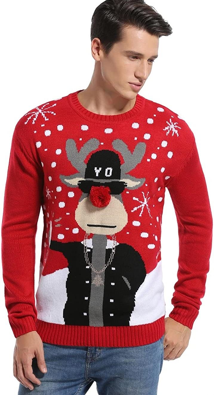 Daisysboutique Mens Holiday Reindeer Snowman Santa Snowflakes Sweater