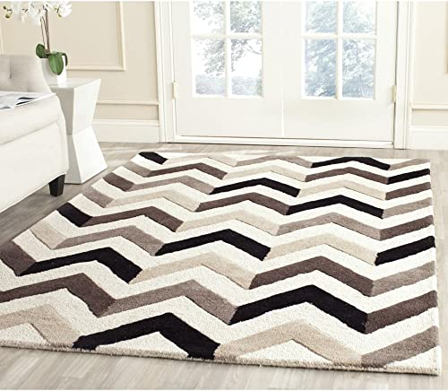 Safavieh Cambridge Collection CAM580C Handcrafted Moroccan Geometric Ivory and Black Premium Wool Area Rug 9' x 12'