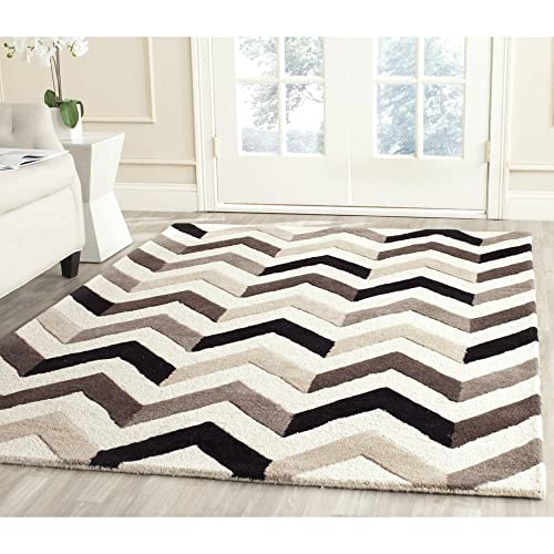 Safavieh Cambridge Collection CAM580C Handcrafted Moroccan Geometric Ivory and Black Premium Wool Area Rug 9 x 12