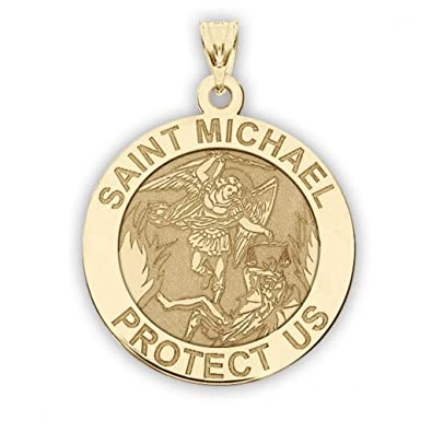Amazon 14k yellow gold saint michael religious medal 23 14k yellow gold saint michael religious medal 23 inch size of a dime mozeypictures Choice Image