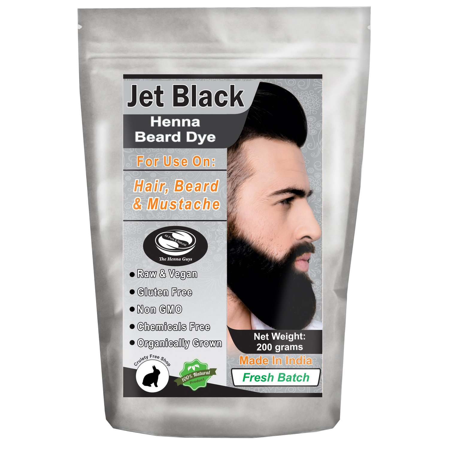 1 Pack of Jet Black Henna Beard Dye for Men - 100% Natural & Chemical Free Dye for Hair, Beard & Mustache - The Henna Guys (2 Step Process) by The Henna Guys