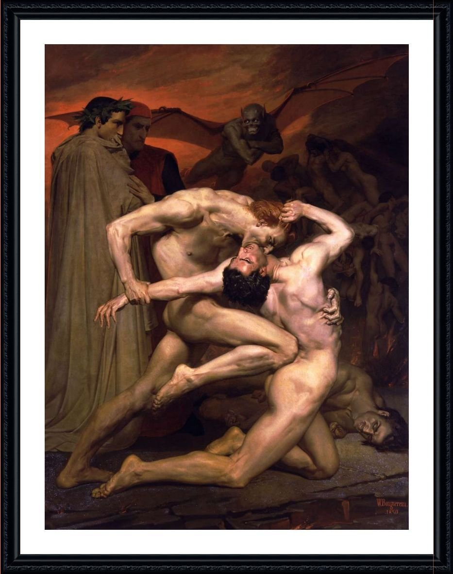 Alonline Art - Dante And Virgil In Hell by William Bouguereau | Black framed picture printed on 100% cotton canvas, attached to the foam board | Ready to hang frame | 19'x24' | Wall art home decor