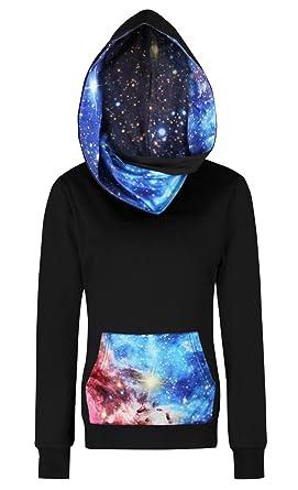 8b15a73ce384 FEOYA Women s Graphic Hoodie Fleece 3d Print Galaxy Pullover Sweatshirt  Long Sleeve Slim Fit Top Blue