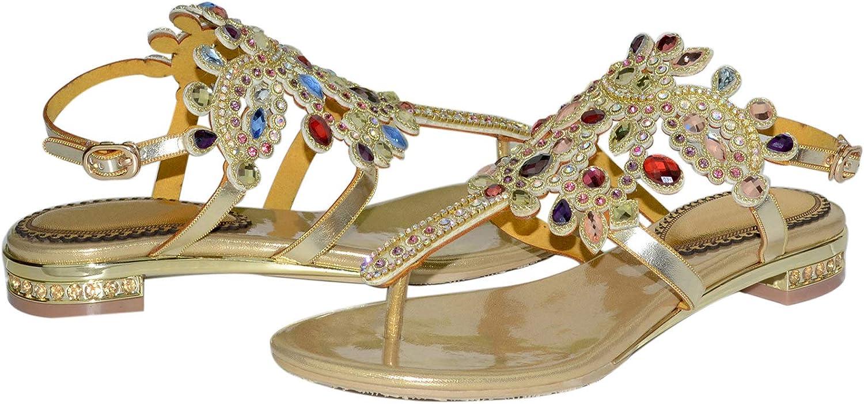 LizForm T-Strap Sandal Flat Shoes Cutouts Rhinestone Flip Flops Dress Flats Sandals