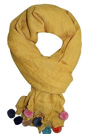 4f81410490a Foulard Femme à Pompon - étole - pashmina - écharpe - cheich - fichu -  Couleur au Choix (Blanc)  Amazon.fr  Vêtements et accessoires