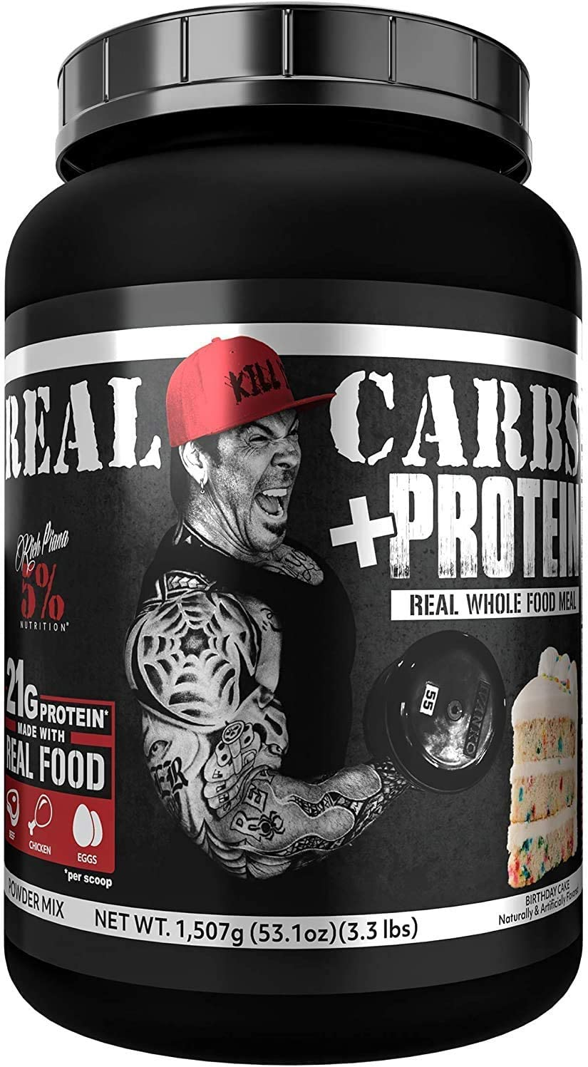Rich Piana 5% Nutrition Real Carbs + Protein | Real Food Meal Replacement + Animal Protein | Lean Muscle Mass Gainer, Complex Carbohydrates, Workout Recovery | 53.1 oz, 22 Srvgs (Birthday Cake)