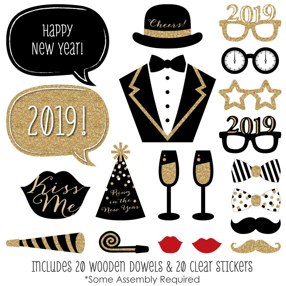 c977244a7b78 Amazon.com  New Years Eve Party - Gold - 2019 New Year s Photo Booth Props  Kit - 20 Count  Toys   Games