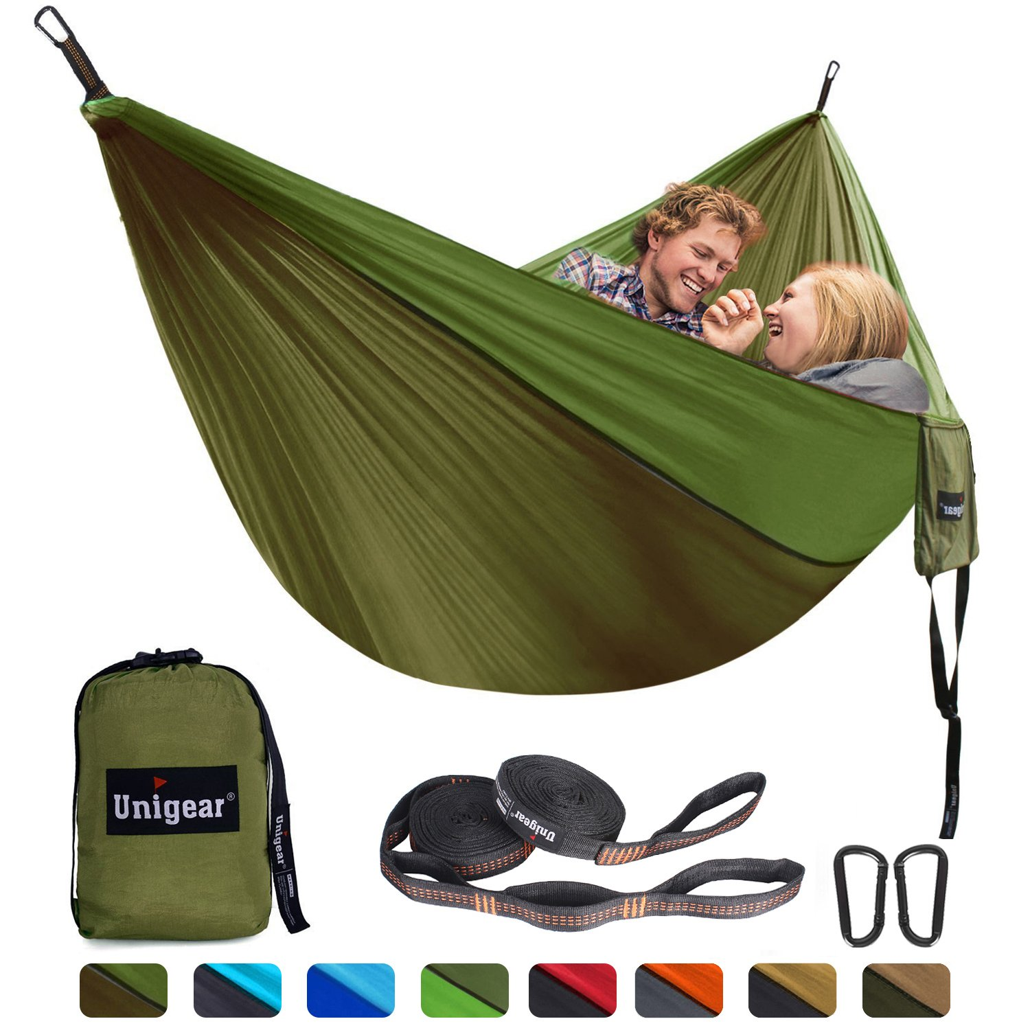 Unigear Hammock, Single & Double Camping Hammock, Portable Lightweight Parachute Nylon Hammock with Tree Straps for Backpacking, Camping, Travel, Beach, Garden (Oliver Green/Army Green) by Unigear