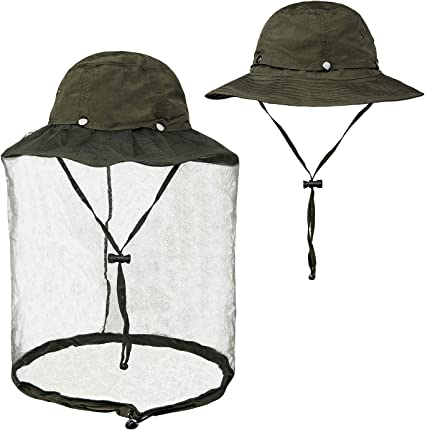 Outdoor Mosquito Head Net Hat UPF 50 Men Sun Hat with Mesh Face Mask Protection