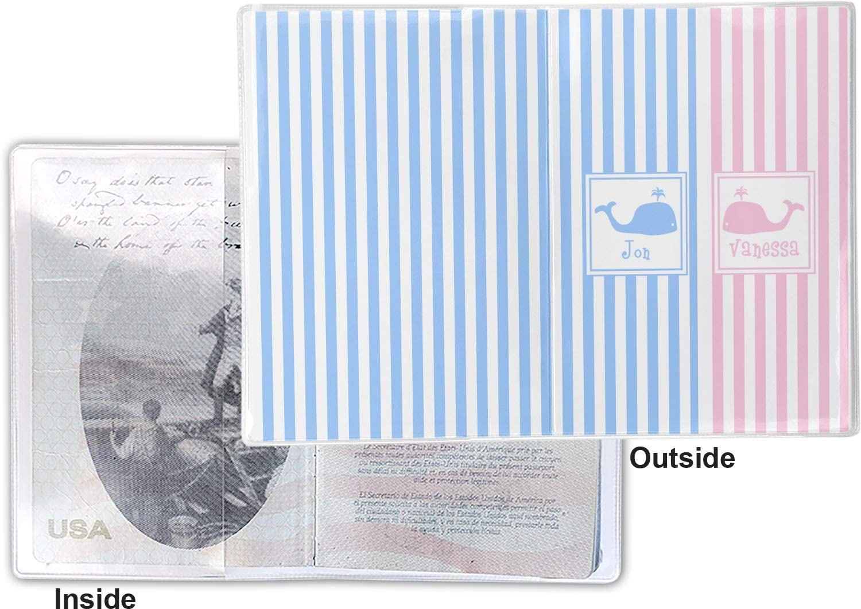 Striped w//Whales Vinyl Passport Holder Personalized