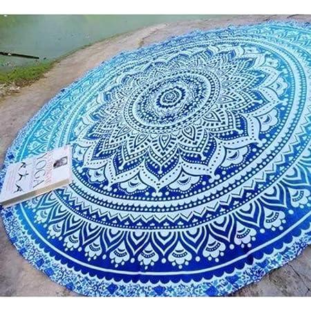 Indian Handicrafts Export Blue Ombre Round Beach Towel ...