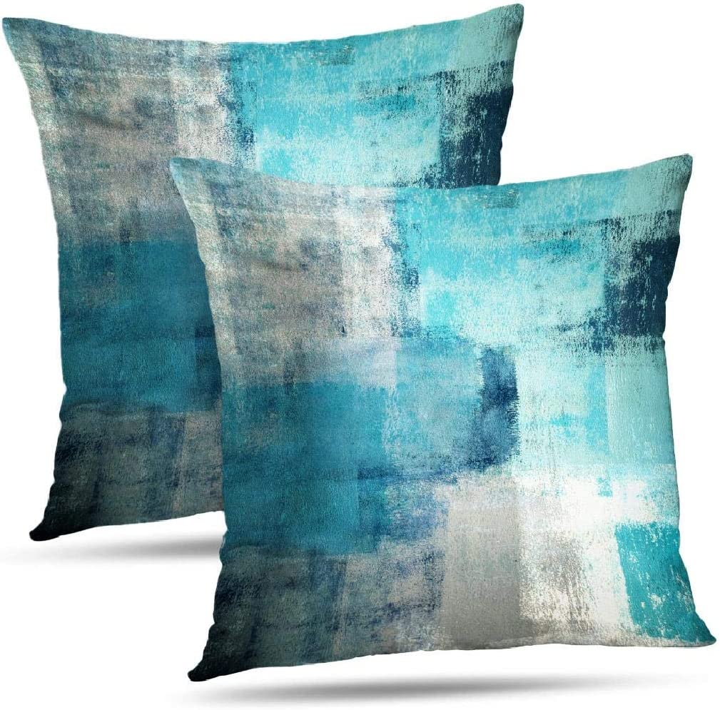 Alricc Set of 2 Teal Throw Pillow Covers Turquoise and Grey Art Decorative Cushion Cover for Home Bedroom Sofa Living Room 16X16 Inches