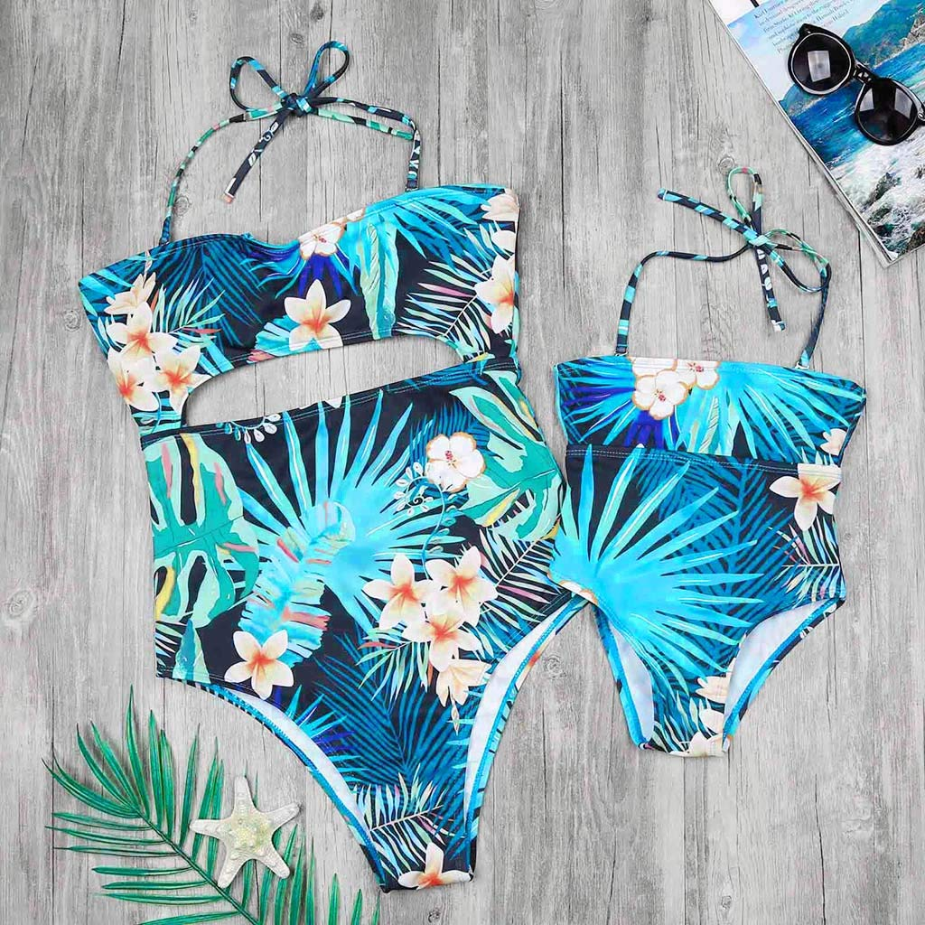 Mommy&Me Matching Swimsuit Floral Leaves Printed Cut Out One Piece Monokini Swimwear 2019