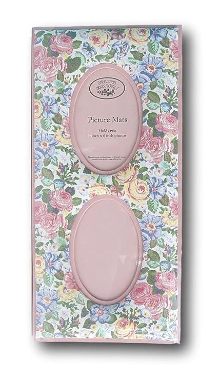 Vintage Rosa Romántico Flores Tela de calicó 2 Oval apertura marco ...