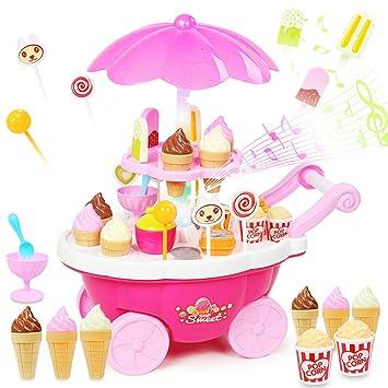 Buyger 39pcs Juguete de Pasteles y Helados de Carrito Juego de Alimentos Postres Imaginación Pretender para niño (Rosa): Amazon.es: Juguetes y juegos