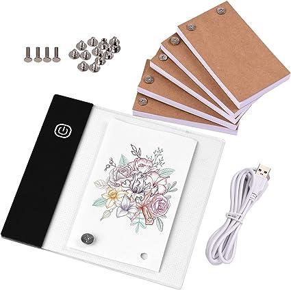 Topuality Kit de libro abatible con mini almohadilla de luz Caja de luz LED Diseño de tableta con orificio 300 hojas Flipbook Papel Tornillos de unión para trazado dibujo Animación Boceto Creación: