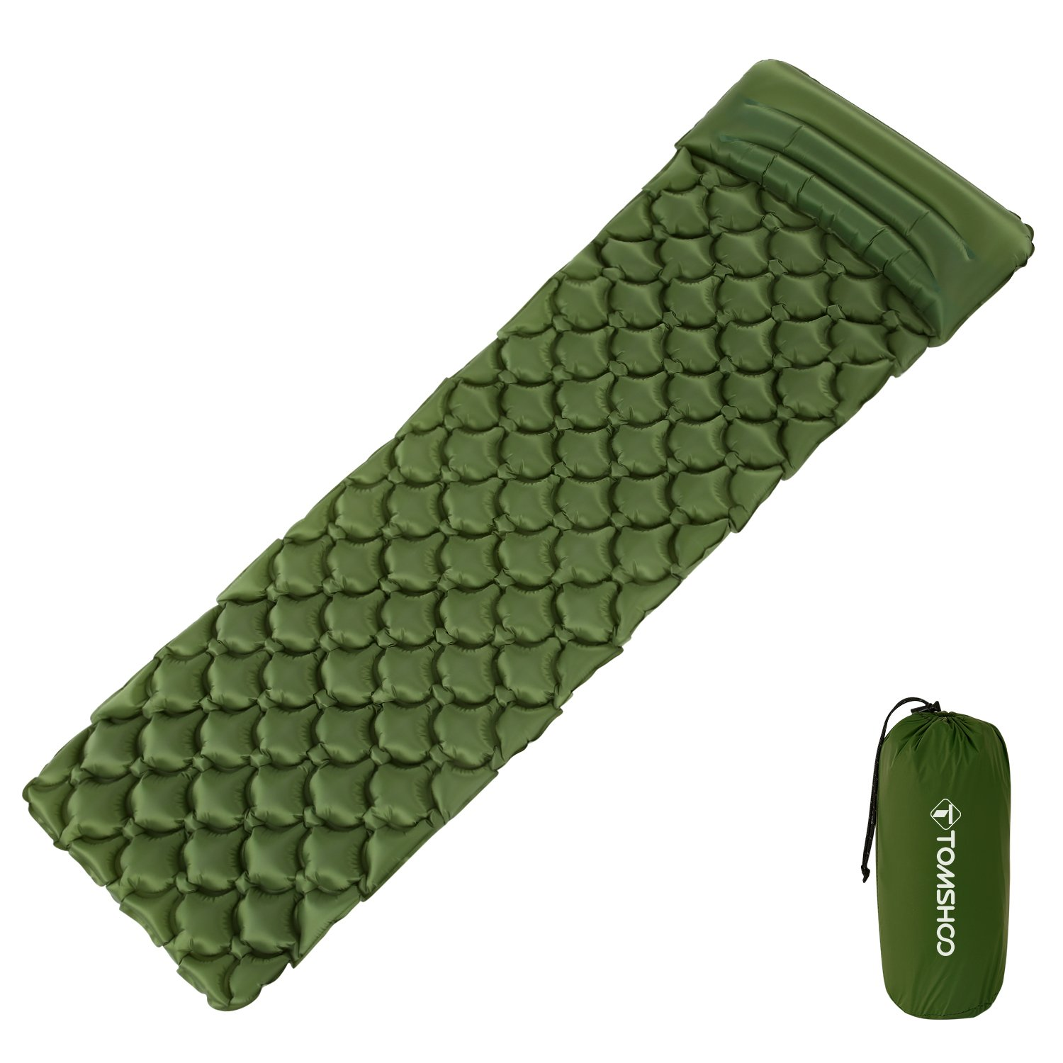 TOMSHOO Camping Sleeping Pad Ultralight Inflatable Mattress with Pillow for Outdoor Camping Hiking Backpacking Travel (Dark Green) by TOMSHOO