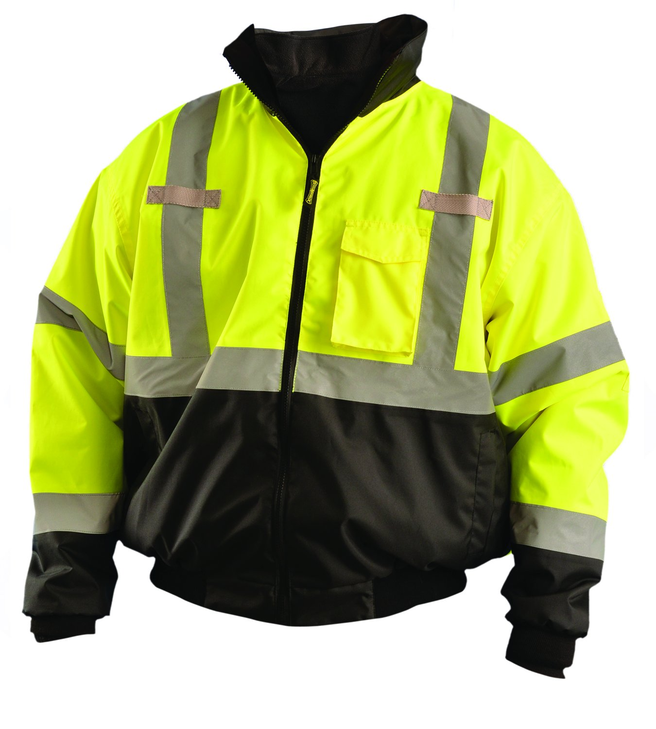 OccuNomix LUX-ETJBJR-BYXL High Visibility 3-in-1 Fleece Lined Black Bottom Bomber Jacket with Roll-Away Hood, Removable Lining and 6 Pockets, Class 3, 100% ANSI Polyester, X-Large, Yellow by OccuNomix