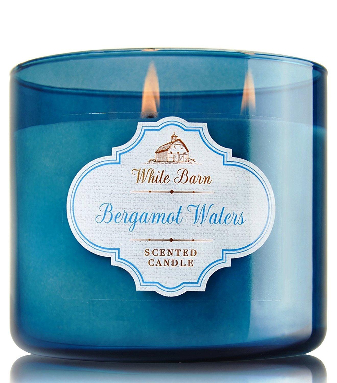 Bath and Body Works Bergamot Waters Candle - Large 3-wick 14.5 oz White Barn Candle Co. - Bergamot Sandalwood Scent Bath & Body Works AX-AY-ABHI-110928