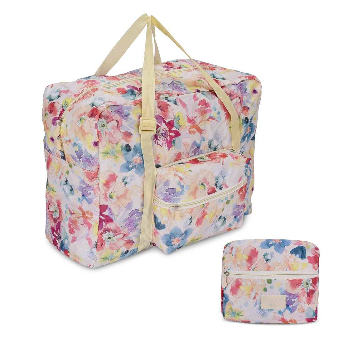 Ybester Foldable Travel Tote Bag Waterproof High Capacity Portable Storage Luggage Bag (Pink Floral)