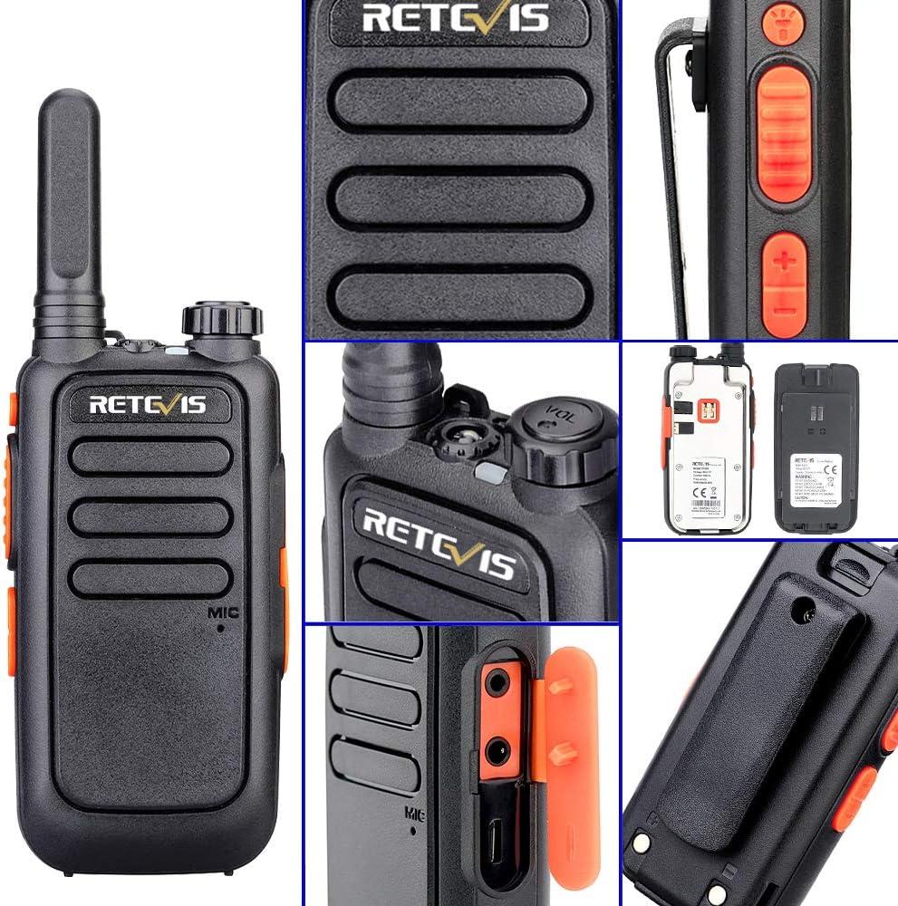 Retevis RT69 Mini Walkie Talkies Rechargeable 20 Pack FRS VOX Hands Free Flashlight Long Range 2 Way Radio with Earpiece