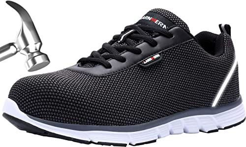dc5876c8926 LARNMERN Mens Steel Toe Safety Trainers,LM-30 Flyknit Breathable  Lightweight Reflective Work Shoes (8 UK, Light Black)