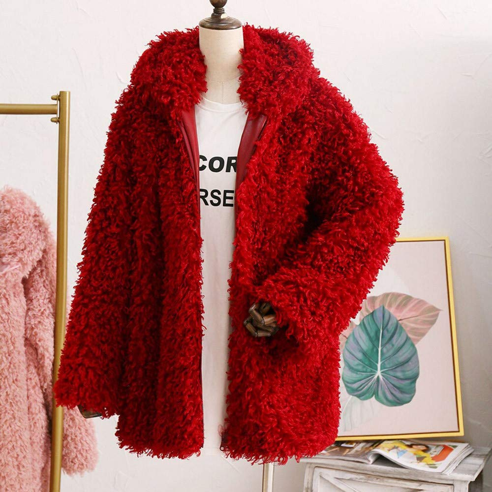 Clearance Sale FEDULK Winter Warm Women Hooded Faux Fur Solid Colour Open Front Cardigan Jacket(Wine Red,US Size S = Tag M) by FEDULK (Image #4)