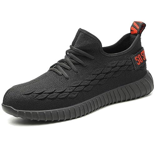 Zapatos de Seguridad para Hombres Zapatillas de Trabajo Ligeras con Puntera de Acero Calzado de Protección Transpirables