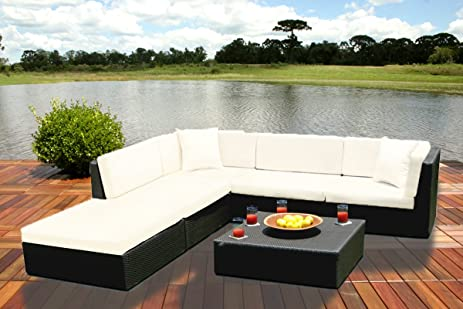 Outdoor Wicker Furniture New All Weather PE Resin 6pc Patio Deep Seating Sectional Sofa Set. : deep seated sectional sofa - Sectionals, Sofas & Couches