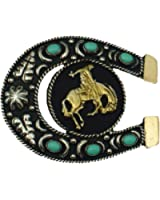 Western Express Black and Turquoise Horseshoe and Bronco Belt Buckle