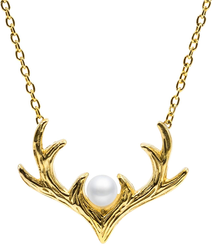 Secret & You Collar de Perla Cultivada Redonda de 3 a 3,5 mm de Agua Dulce - Cadena y Colgante de Plata de Ley de 925 milésimas Bañada en Rodio o en Oro de 18k 40, 45 o 50 cm de Largo.