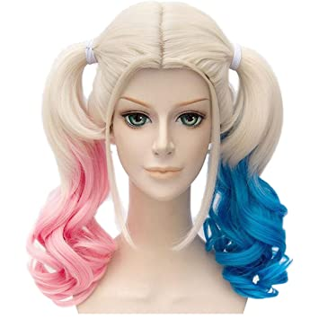 Deifor Two Braids Hair Wigs for Suicide Squad Harley Quinn Cosplay Costume Wigs (Pink Blue