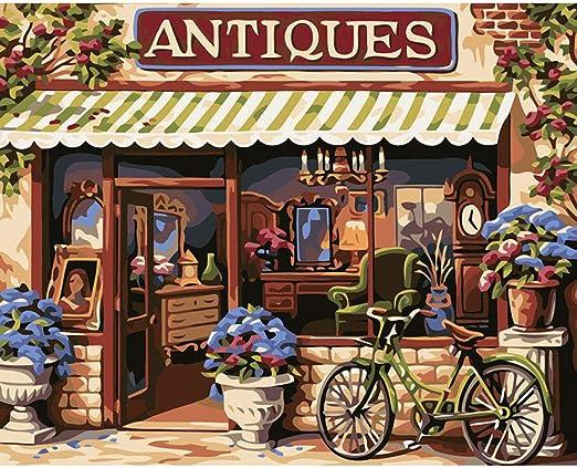 Pintura digital de bricolaje por números tienda puerta bicicleta ...
