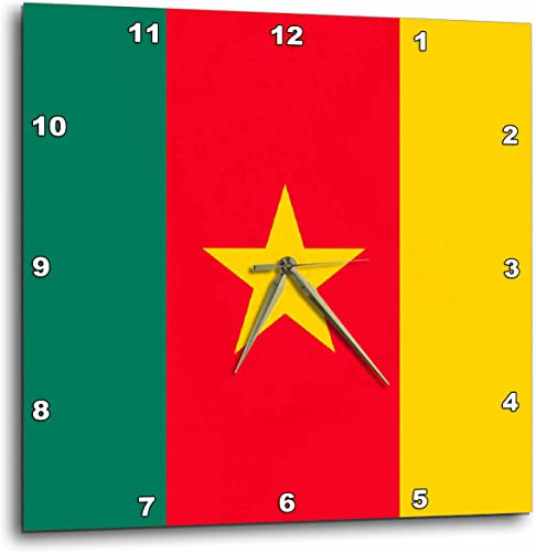 3dRose dpp_31540_2 Cameroon Flag-Wall Clock, 13 by 13-Inch